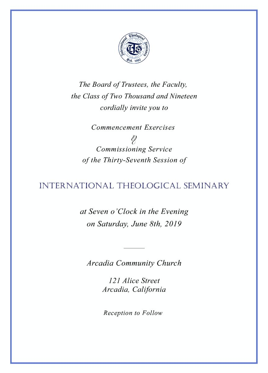 Commencement and Commissioning Service 2019